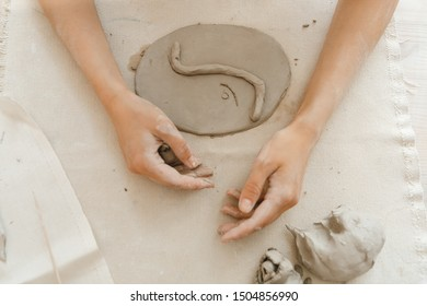 hand sculpting, clay product, top view