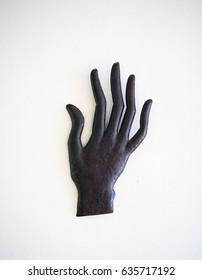 hand sculpture, black hand gesture carving