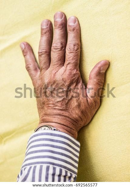 Hand of senior man
