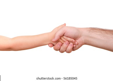 Hand shake of the child and father isolated