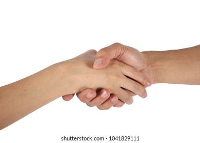 hand shake isolate on white clipping path