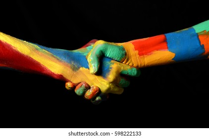 Hand Shaking Gesture of Oil Painted Hands Diversity concept