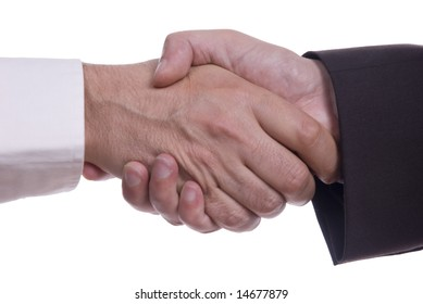Hand shaking on a white background
