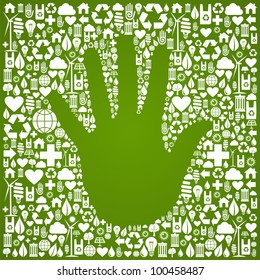 Hand shape in green Earth icons set background.