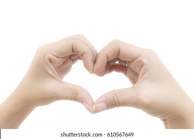 Hand shaped heart on white background