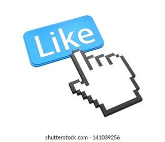 Hand Shaped mouse Cursor thumb up like man share good social media share 3d symbol icon button illustration