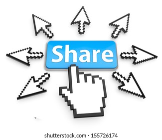 Hand Shaped mouse Cursor thumb up like man share good social media share 3d symbol icon button share