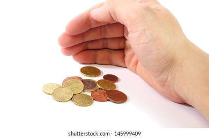 A hand in shell shape covering money