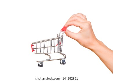 Hand and a shopping cart isolated on white background
