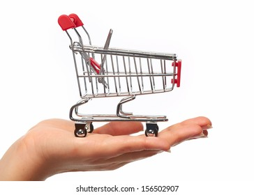 Hand with a shopping cart. Isolated on white background.