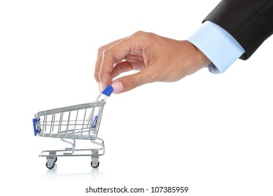 hand with shopping cart isolated over white background