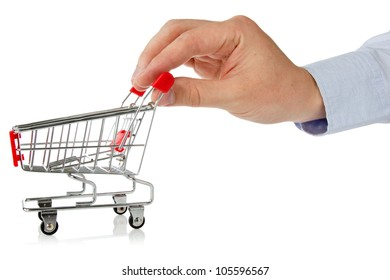 hand with shopping cart over a white background