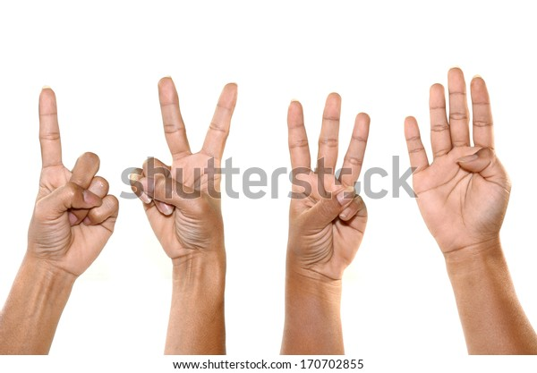 hand show one two three four