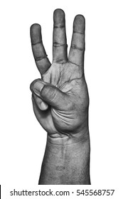 Hand show three fingers up in black and white isolated on white.