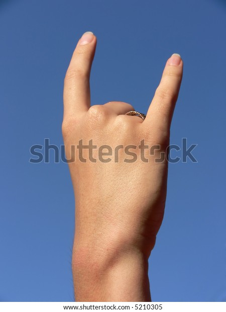 Hand show two fingers (two, horns, cool sign)