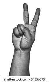 Hand show two fingers up or peace sign in black and white isolated on white.
