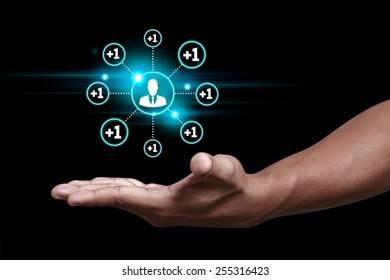 Hand showing add friend icon