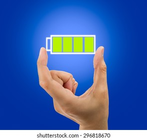 Hand showing a battery full icon