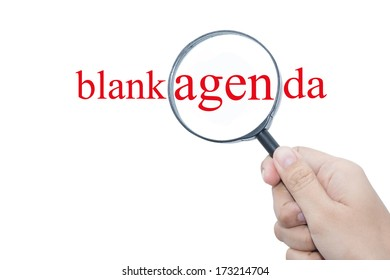Hand Showing blank agenda Word Through Magnifying Glass
