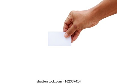 Hand showing the blank business card isolated in white