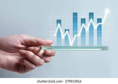 Hand showing blue business chart on smartphone, representing business growth. The background is white, chart colors are white and blue.