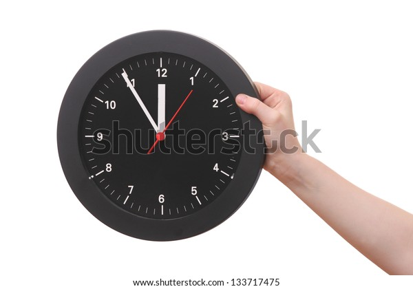 Hand showing a clock on white background