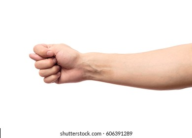 Hand showing a fig sign isolated on white background
