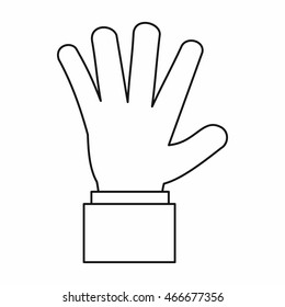 Hand showing five fingers icon in outline style isolated  illustration