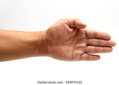 Hand showing the five fingers isolated on white background