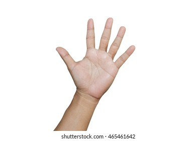 Hand showing five fingers isolated on white background. (clipping path)