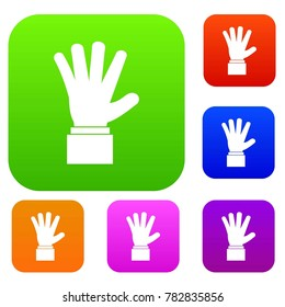 Hand showing five fingers set icon in different colors isolated  illustration. Premium collection
