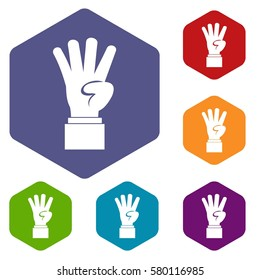 Hand showing number four icons set rhombus in different colors isolated on white background