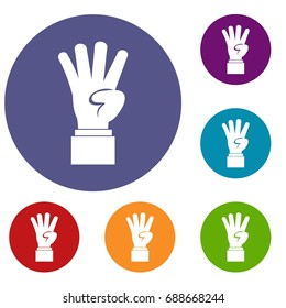 Hand showing number four icons set in flat circle reb, blue and green color for web