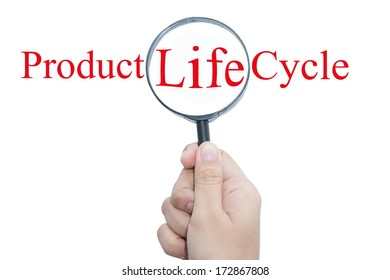 Hand Showing Product Life Cycle Word Through Magnifying Glass
