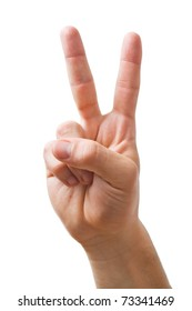 Hand showing the sign of victory  and peace close-up isolated on white background.