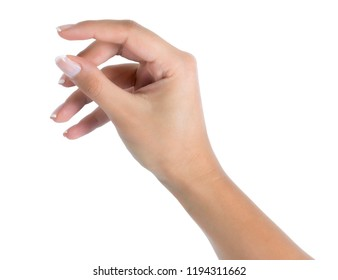Hand showing size gesture isolated on white