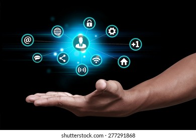 Hand showing social media icon