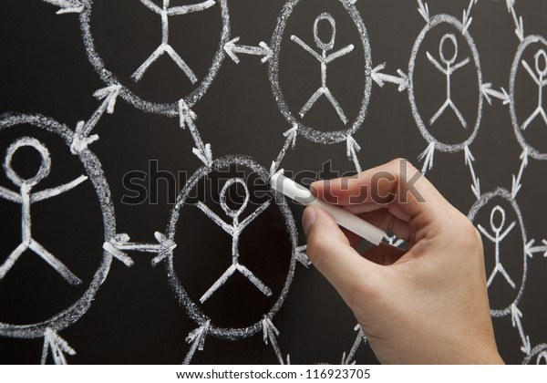 Hand showing social networking concept made with white chalk on a blackboard