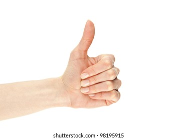Hand showing thumbs up gesture isolated on white
