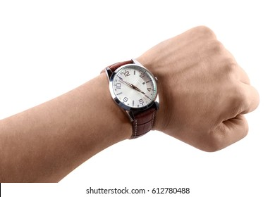 A hand showing a time, isolated on white background
