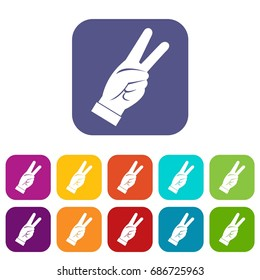 Hand showing victory sign icons set  illustration in flat style In colors red, blue, green and other