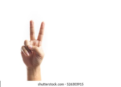 A Hand showing victory sign on white background