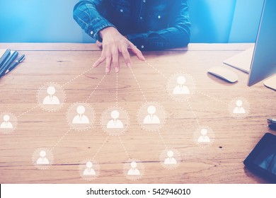 Hand showing vision businessman icon network - HR,HRM,MLM, teamwork and leadership concept.