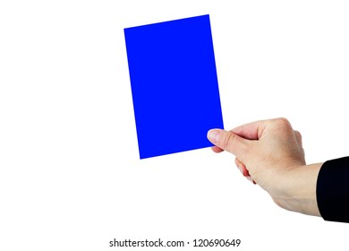 Hand shows Blue Card