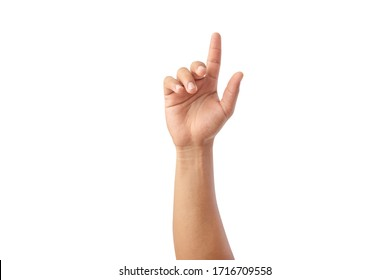Hand shows the forefinger up isolated on white background, with clipping path, concept press the button first, Double click mouse, take the lift