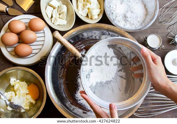 Handseifmehl, Bäckereien für Schokoladenkuchen, Draufsicht