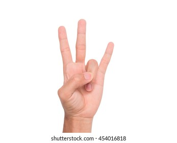 A hand sign of 3 fingers point upward with white background