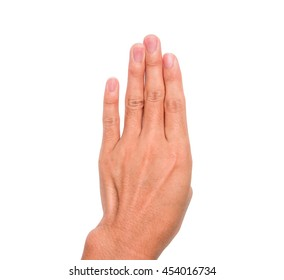 A hand sign of 4 fingers point upward meaning four, fourth, etc. with white background