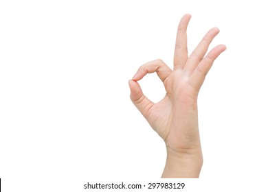 Hand sign OK with isolated background.