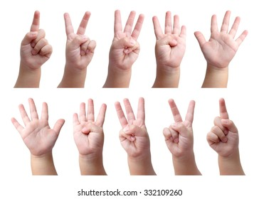 Hand sign set - finger counting of kid toddler baby left and right hand for mathematics education - math study - number one two three four five six seven nine ten - isolated on white